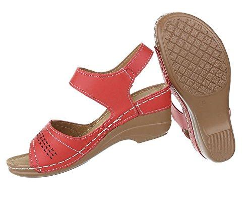 Damen Sandaletten Schuhe High Heels Keil Wedges Pumps Rot