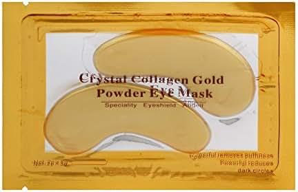 Collagen Eye Mask,lotus.flower 24k Gold Eye Collagen Aging Wrinkle Under Crystal Gel Patch Anti Mask (Yellow)