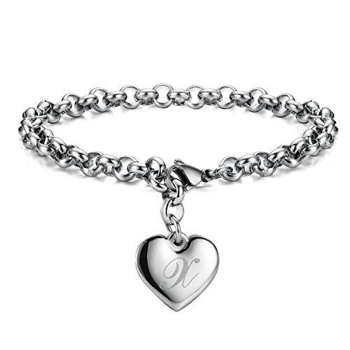 Monily Initial Charm Bracelets Stainless Steel Heart Letters X Alphabet Bracelet for Women ()