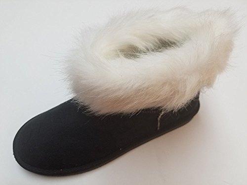 Ameta Donna Camoscio Eco-pelliccia Caldo Inverno Pioggia Neve Stivaletti Stivaletti Scarpe Nere