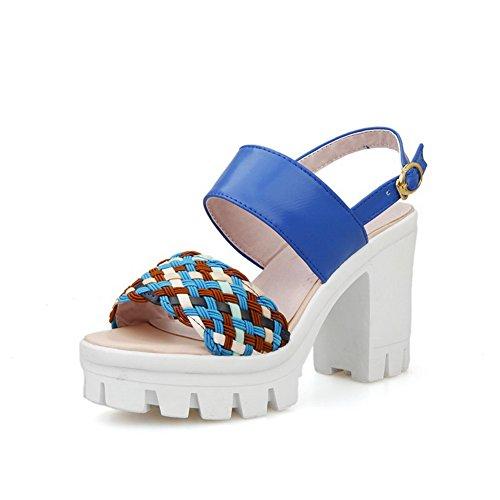 Amoonyfashion Mujer Surtido Color Suave Material Tacones Altos Hebilla Sandalias Con Punta Abierta Azul