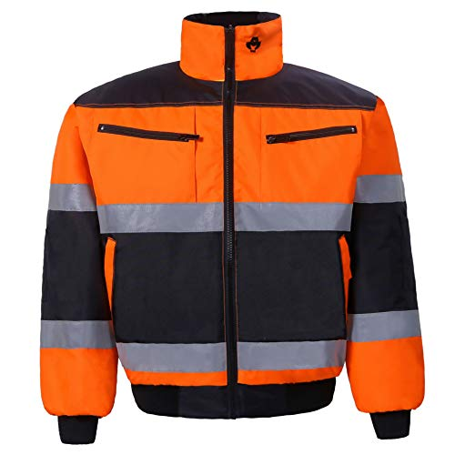 Reversible Bomber Jacket for Men and Women Waterproof Winter Safety Work Coat Two Tone High Visibility Ansi Class 2 (Small, Orange/Black, 1 Piece)