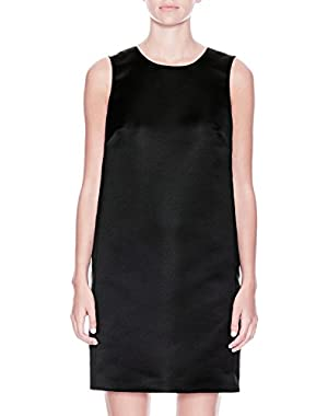 Theory Black Shift Z Dress In Structured Satin - Size 2