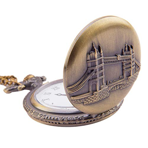 Kartique Full Hunter Pocket Watch London Bridge Embossing with Chain | Roman Number Dial | Pendant | Necklace | Locket | Gandhi Style | with Wooden Box (B076DCXM6Q) Amazon Price History, Amazon Price Tracker
