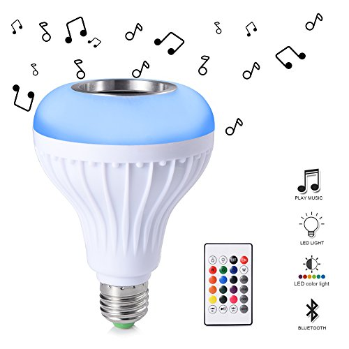 Ledgle E27 LED Light Bulbs RGB Smart Music Light Bulb Dimmable with Built-in Bluetooth Speaker, Remote Control for Home Party Stage Decoration
