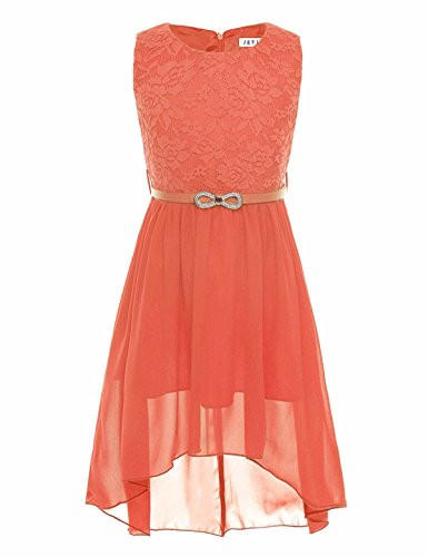 FEESHOW Kids Big Girls Lace Flower High Low Chiffon Bridesmaid Dress Dance Party Orange]()