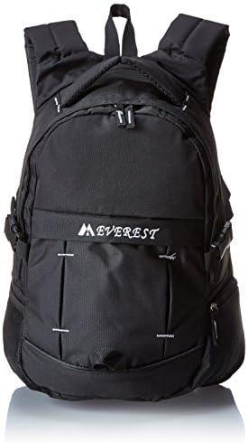 Everest Sporty Backpack with Side Mesh Pocket, Black, One Size