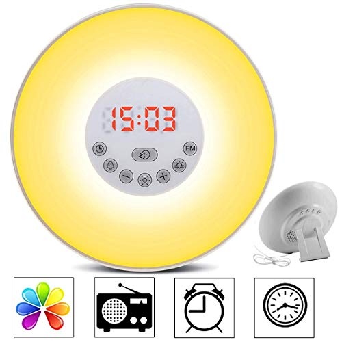 Wake Up Light, Newest Alarm Clock Sunrise Simulation Snooze Radio Clock Bedside Night Light with Nature Sounds, FM Radio, Touch Control and USB Charger