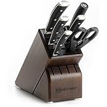 Wusthof Classic Ikon 7-Piece Walnut Block Knife Set, Black