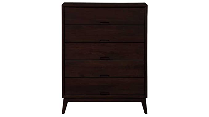 Aprodz Mango Wood Storage Cabinet Cruz Chest of 5 Drawers Furniture for Living Room | Cocoa Brown