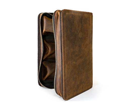 Wall St Smoker, Grand Genuine Leather Portable Travel Cigar Case, Holds 8-10 Double Gordo Cigars by Soul Beautiful (Image #3)