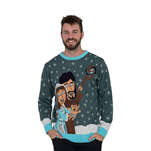 (Jesus Joseph Mary Selfie Stick Family Picture Ugly Christmas Sweater (Adult)