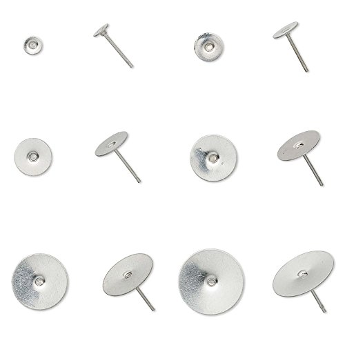 100 Dark Silver Surgical Stainless Steel Flat Pad Post Stud Earring Findings -