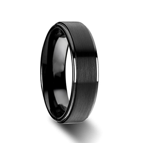 Black Titanium Band For Men Women Step Edge Wedding Ring Comfort Fit