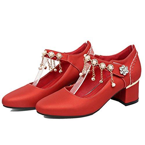 AIYOUMEI Damen Chunky Heel Knöchelriemchen Pumps mit 5cm Absatz und Strass Perlen Blockabsatz Schuhe Rot