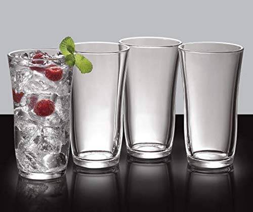 Tumbler Highball Set OF 12-18 oz Heavy Base! Thick Wall! The Substantial Pressed Glass Promises LONG LASTING.! Dishwasher Safe! Sleek Silhouette! Versatile: Water Beverages Beer & Cocktails (12)