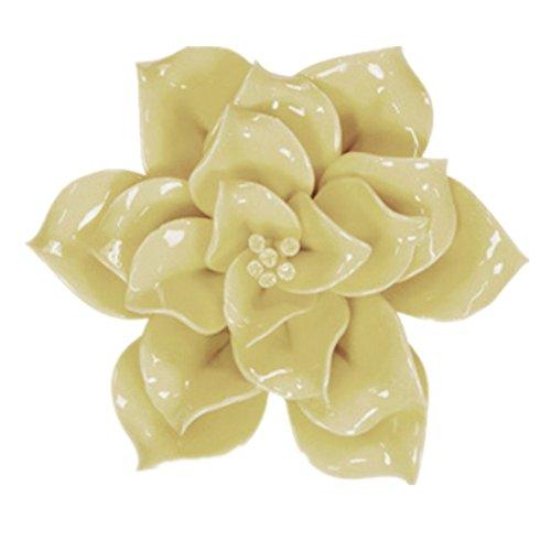 Handmade Ceramic Flowers Three-dimensional TV Sofa Background Wall Decorations Creative Living Room Ornaments (L, Yellow)
