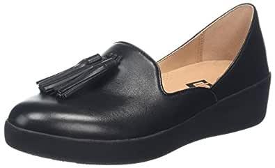 FitFlop Women's Tassel Superskate D'Orsay Loafers Black 5 M US