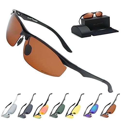 Xloop Polarized Rectangular Al-Mg Metal Half Frame Driving Sport Sunglasses For Men ()