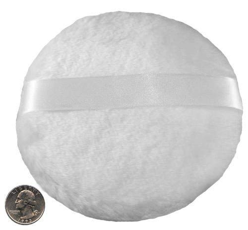 EXTRA LARGE Super Soft Powder Puff FOR MEN - 5.5 Diameter LARGE SIZE (See Photo with Measurement)- SHIPS FROM THE USA