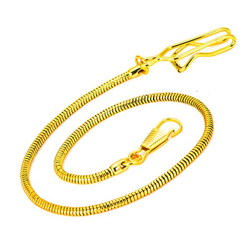 Clip Pocket Watch Chain - BOSHIYA Vintage Metal Alloy Gold Pocket Vest Snake Chain with Gift -