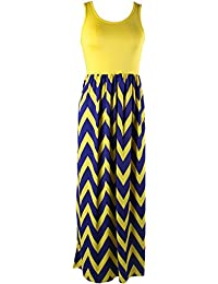 Women's Summer Chevron Striped Print Dress Tank Long Maxi...