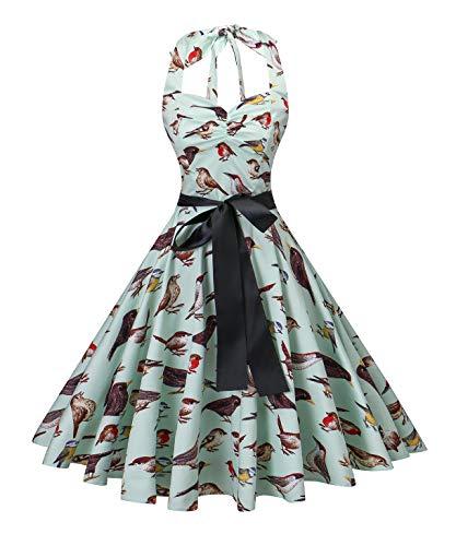 (V fashion Women's Rockabilly 50s Vintage Polka Dots Halter Cocktail Swing Dress,Bird/Mint, M)