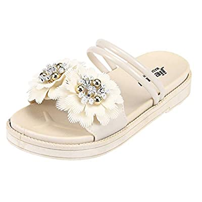 RAINED-Women Sandals Flower Open-Toe Slippers Casual Beach Shoes Outdoor&Indoor Slippers Slip-on Sandals Athletic Slides
