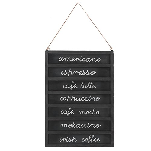 - 7-Slot Wall-Mounted Wood Chalkboard Menu Sign with Removable Boards & Hanging Rope, 24-Inch