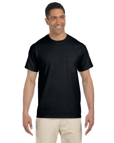 Gildan Adult Seamless Chest Pocket Comfort jersey T-Shirt, Black, XXXX-Large. ( Pack10 ) by Gildan
