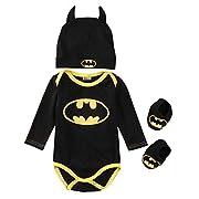 3 Piece Set: Superhero Baby Onesie (0-6 Months, Batman)