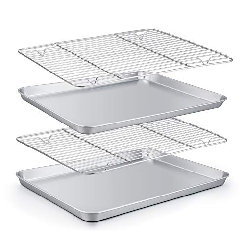 Stainless Steel Baking Sheet - TeamFar Baking Sheet with Rack Set (2 Pans + 2 Racks), Stainless Steel Baking Pan Cookie Sheet with Cooling Rack, Non Toxic & Healthy, Easy Clean & Dishwasher Safe - 4 Pack