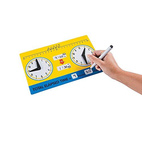 - Fun Express - Elapsed Time Dry Erase Board - Educational - Teaching Aids - Math - 12 Pieces