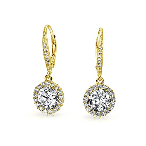 3.5CT Round Solitaire Halo CZ Leverback Drop Earrings For Women Prom Party Cubic Zirconia 14K God Plate Sterling Silver ()