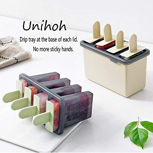 Popsicle Ice Mold Maker Set -8 Pack No BPA Reusable Ice Cream DIY Pop Molds Holders With Tray and Sticks Popsicles Maker Fun for Kids and Adults Best for Party Indoor and Outdoor Green