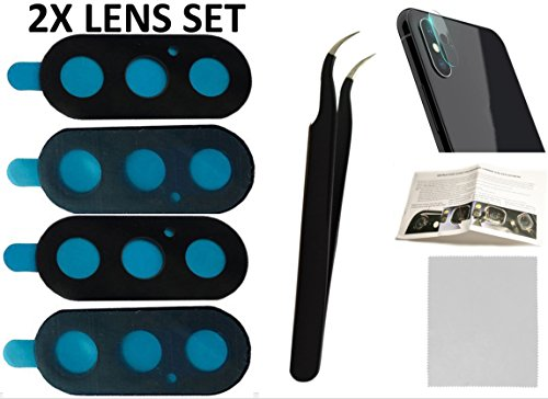 2X Back Rear Camera Glass Lens Cover Replacement + Tool + Guide with TIPS + Adhesives Preinstalled + Tempered Glass + Clean Cloth For iPhone X 10 model A1865, A1901, A1902 (Any Carriers)