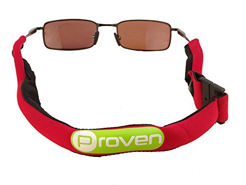 Float Glass - Premium Floating Sunglass Strap; Highly Visible Neoprene Sunglass Holder that Floats; Suitable for Men, Women and Kids (Red)