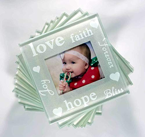 - Set of 12 Good Wishes Pearlized Photo Glass Photo Coasters - DIY Picture Gifts Party Supplies tokocanna