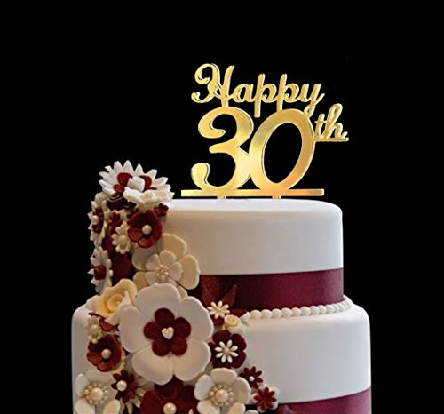 Happy 30th Gold Cake Topper for Birthday, Anniversary, Wedding - 30 Years Old Decoration