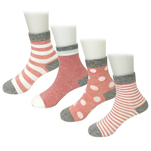 Bowbear 4 Pair Baby Dots and Stripes Socks, Pink