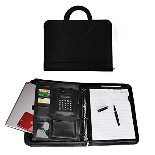 folio Folder - Interview/Legal Document Organizer & Business Card Holder - with A4 Writing Pad, Binder and Calculator - Carrying Cases (Black) ()
