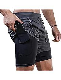 Lecoon Shorts Deportivos Hombre 2 en 1 Pantalones Cortos para Correr con Forro de Bolsillo Incorporado Secado Rápido Transpirable para Running Gym Entrenamiento