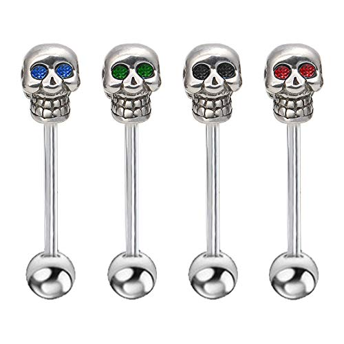 Skull Tongue Barbell - CrazyPiercing 4Pcs 14G Stainless Steel Skull Diamonds Tongue Rings Barbell Piercing Tongue Bars Body Percing Jewelry