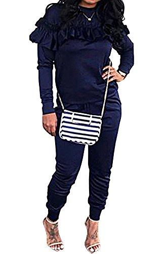 Cheap KunLunMen Womens 2 Piece Tracksuit Ruffle Bodycon Sweatshirts Sets Fall Winter hot sale