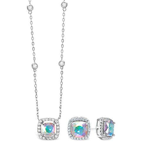Lesa Michele Cubic Zirconia & Aurora Borealis Cushion Pendant & Stud Earring Set in Sterling Silver