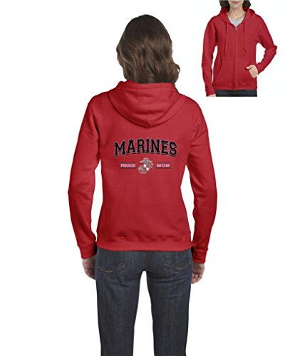 Proud Mom Sweatshirt - Blue Tees USMC Marines Proud Mom US Marine Corps People Fashion Clothing Mothers Day Gifts Full-Zip Women's Hoodie Clothes Small Red