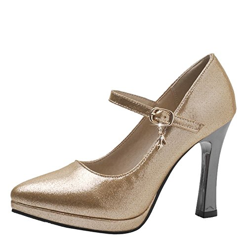 Mee Shoes Damen High Heels Schnalle Plateau Pumps Gold