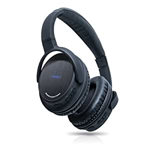 Photive BTH3 Over-The-Ear Wireless Bluetooth Headphones with Built-in Mic and 12 Hour Battery. Includes Hard Travel Case.