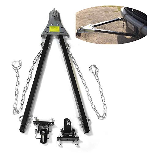 HTTMT- US-FF801-BK- Adjustable Tow Towing Bar Bumper Mount 5000lb w/Chains RV Car Truck Jeep System