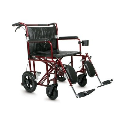 """Medline Bariatric Transport Chair, 22"""" Wide Seat, Permanent Full-Length Arms, Elevating Legrests, Red Frame"""